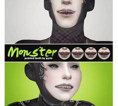 Monster Teeth by pyxis Vampire Hair, Vampire Fangs, Alien Ears, Sims 4 Anime, Neko Ears, Sims 4 Characters, Sims Games, Sims 4 Mm, Sims 4 Cc Finds