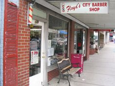 Floyd's City Barber Shop, 129 N. Main St, Mount Airy, North Carolina. Andy Griffith's hometown was the basis for the fictional town of Mayberry in his eponymous TV show, and this is one of many community businesses and attractions that seem frozen in the early 1960s.