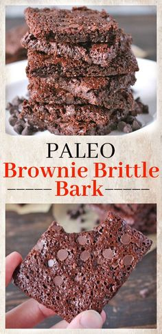 Easy Paleo Brownie Brittle Bark- crispy, chocolatey, and addictively good. Easy to make and gluten free and dairy free.