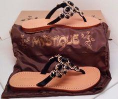 new in box  Women's US 7 MYSTIQUE Sandal Silver/Black  Retail $205.00 #Mystique #Slides