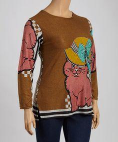 Loving this Mocha & Pink Cat Crewneck Sweater - Plus on #zulily! #zulilyfinds