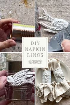 Instead of buying cheap napkin rings, upcycle tin cans and make your own. Using IOD moulds, homemade napkin rings are a quick and easy DIY decor craft. Diy Projects On A Budget, Diy Home Decor Projects, Diy On A Budget, Decor Crafts, Rustic Napkin Rings, Rustic Napkins, Tin Can Crafts, Iron Orchid Designs, Handmade Table