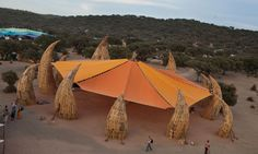 Orange and green … one of the eco-friendly performance tents at Boom in central Portugal