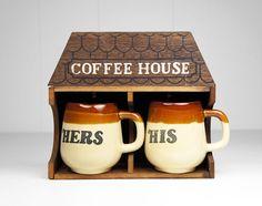 Vintage His and Hers Coffee Mug Set w/ Coffee by HoofAndAntler, $35.00