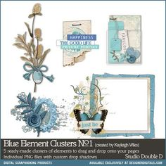 Blue Element Clusters No. 01- Studio Double-D Elements- EL599122- DesignerDigitals