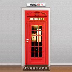 Adesivo para Porta Textura Cabine Telefônica de Londres