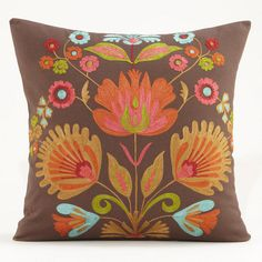 This pillow makes me feel happy.  Doesn't it make YOU feel like life is full of possibilities?  One of my favorite discoveries at WorldMarket.com: Multicolored Flower Murano Chain Stitched Pillow
