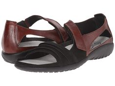 b2fd4938993d Naot Papaki Women s Shoes Black Velvet Nubuck Cinnamon Leather