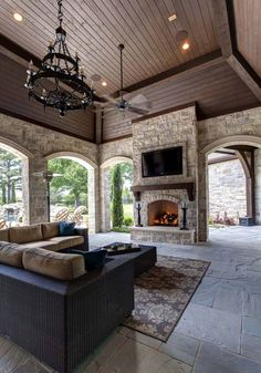 63 The Most Popular Outdoor Living Room Decoration Models Tips To Furnishing Your Outdoor Living Space 46 ~ Top Home Design Outdoor Kitchen Design, Patio Design, Exterior Design, House Design, Outdoor Rooms, Outdoor Living, Outdoor Kitchens, Outdoor Patios, Outdoor Lounge