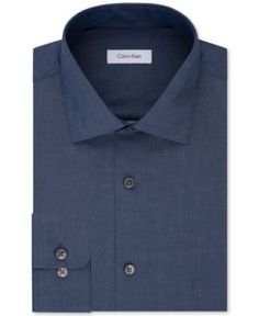 Calvin Klein Steel Men's Classic-Fit Non-Iron Performance Solid Dress Shirt - Blue 17.5 32/33
