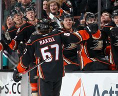Rickard Rakell of the Anaheim Ducks celebrates with the bench after scoring a goal against the San Jose Sharks Ducks Hockey, Anaheim Ducks, San Jose Sharks, Montreal, Nhl, Celebrities, Bench, Celebs, Desk