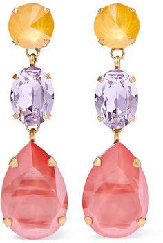 edd77a8b8161e Roxanne Assoulin - Gold-tone Swarovski Crystal Clip Earrings - Pink Clip  Earrings