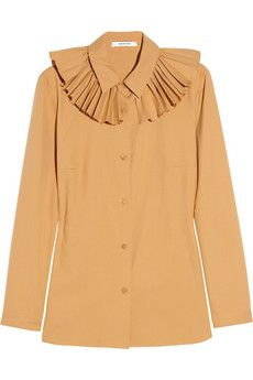 Carven  Pleated-collar cotton shirt