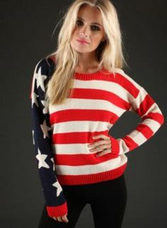Love patriotic sweaters...would totally where this for the fourth and any time anything happens that's important in America
