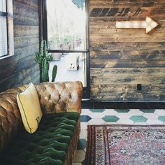 """Hex tiles! We've got 6 sizes, 2 materials and 72 colors to choose from!   Steal this look with Mosaic House's  8"""" cement Hex tiles in White and Green.   Stay: Palihotel"""