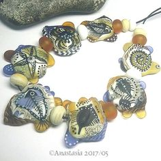 ANASTASIA-handmade-lampwork-beads-7-034-FOSSILS-034-SRA http://www.ebay.com/itm/262994163312?ssPageName=STRK:MESELX:IT&_trksid=p3984.m1555.l2649