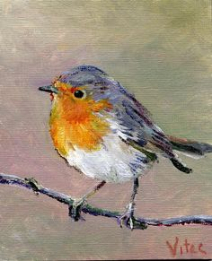 Birds painting by Vitec: All Christmas Robins - Birds painting by Vitec: All Christmas Robins - Bird Paintings On Canvas, Bird Painting Acrylic, Simple Oil Painting, Bird Artwork, Watercolor Bird, Animal Paintings, Canvas Art, Painting Canvas, Robin Bird