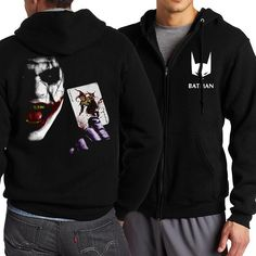 HAMPSON LANQUE Full V-Neck Zip Down Hoodie w/ Multiple Designs (The Punisher/Deadpool/The Flash STAR S.T.A.R. Labs/Batman)