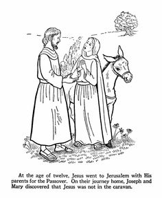 Mary and St. Joseph realizing that the Child is is not with them in the caravan coloring page.