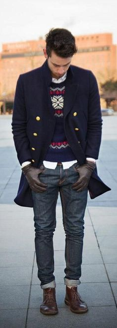 Gold buttons on navy . Leather gloves. Wool sweater. Jeans and leather shoes. Comf.
