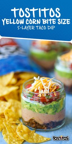Sponsored by Frito-Lay | Fire up your social media because these Mason Jar Dips are the picture-perfect (and delicious) addition to your summer fiestas. Tostitos® Yellow Corn Bite Size Tortilla chips make for the ideal size for Mason Jar munching plus—you can save yourself the worry of double dipping party-goers with these single sized saviors!