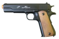 Double Eagle 1911A1 METAL & ABS Spring Airsoft Pistol 250-FPS Airsoft Gun by Double Eagle. $18.95. Spring-powered airsoft guns are single-shot devices that use elastic potential energy (EPE) stored in a spring to compress air to launch an airsoft pellet down the barrel of the gun.  It's fast, clean, inexpensive and easily maintained, it requires no gas or batteries to operate. The user must cock a spring gun prior to each shot. This is typically achieved by pulling bac...