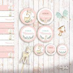 Kit Ciervita Nena del bosque. Imprimible personalizable Baby Shower Para Nena, Bambi, Surface Design, Hello Kitty, Cute Animals, Party, Margarita, Safari Party, Enchanted Garden