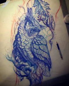Owl Tattoo Drawings, Tattoo Sketches, Owl Tattoo Design, Tattoo Designs, Traditional Owl Tattoos, Buho Tattoo, Dark Tattoo, Tattoo Ink, Tattoo Project