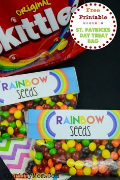 St Patricks Day Crafts For Kids, Treat Ideas for St Patty's Day. FREE PEINTABLE RainbowSeeds, Skittles Rainbow bag topper patricks day treats for daycare St Patricks Day Crafts For Kids, Free Printable - Rainbow Seeds Treat Bag March Crafts, St Patrick's Day Crafts, Preschool Crafts, Diy Crafts, Spring Crafts, Creative Crafts, Preschool Activities, St Patrick Day Snacks, Chocolates