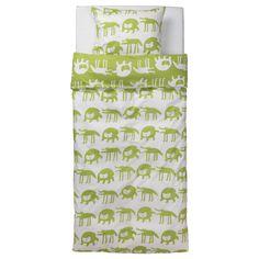 BARNSLIG ULVEN Duvet cover and pillowcase(s) - red/white - IKEA