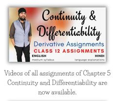 Videos of all Assignments of Chapter 5 Continuity and Differentiability Class 12 Maths is now available on the Website.  #education #homelearning #selfeducation #IITJee #iitjeepreparation #JeeMains #homeschooling #growth #homeeducation #selflearning #class12maths #ncertsolutions #mathstudent #maths #mathematics #grow #personalgrowth #personalizedlearning #selfdevelopment #selfgrowth #ncertsolutions #pdfnotes  #important #board #online #onlinelearning #onlineeducation #onlinetraining Class 12 Maths, Hindi Video, Home Learning, Self Development, Mathematics, Homeschooling, Physics, Language, Student