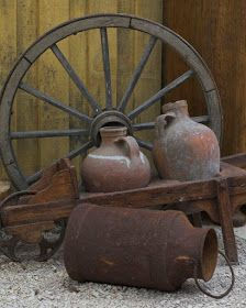Outdoor Decor in a rustic wagon would look so cute on the front porch! * For mor… Outdoor Decor in a rustic wagon would look so cute on the front porch! * For more information, visit image link. Wagon Wheel Decor, Rustic Outdoor Decor, Old Wagons, Rustic Wood Furniture, Milk Cans, Rustic Gardens, Diy Garden Decor, Rustic Farmhouse, Farmhouse Front