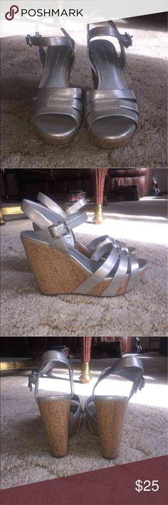 Silver Wedge Sandals BCBG silver wedge sandals with buckle closure. Size 7. BCBGeneration Shoes Wedges