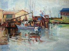 Westport Docks by Mary Maxam Oil ~ 8 x 10