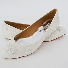 Badgley Mischka Sindee White Flat Bridal Shoes.  Flirty feminine flat bridal shoes in lace & beads. Badgley Mischka wedding shoes, truly unique.