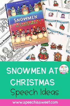 Snowmen at Christmas is fabulous book for December speech therapy. It's a great book to work on a variety of speech therapy goals such as visualization, rhyming, sequencing, and more! You can also find a book companion for this book in this blog post. | Speech is Sweet Speech Language Therapy, Speech Therapy Activities, Language Activities, Speech And Language, Christmas Speech Therapy, Find A Book, I Love Reading, Therapy Ideas, Winter Theme