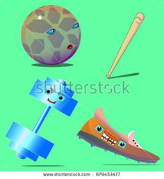 An image consisting of four objects. The first thing is a ball with a face. The second object is an unhappy bit. The third thing is a weight. The fourth object is a shoe that shows teeth.
