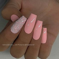 Nail art Christmas - the festive spirit on the nails. Over 70 creative ideas and tutorials - My Nails Summer Acrylic Nails, Best Acrylic Nails, Acrylic Nail Designs, Fancy Nails Designs, Peach Nails, Pink Nails, Pink Nail Art, Cute Nails, Pretty Nails