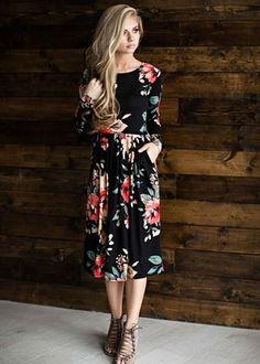 black jane floral dress