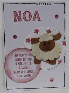 Gemaakt door Joke # Babykaart met schaapje, Noa geboren