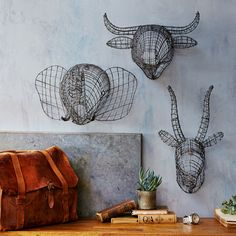 Our handmade Wire Animal Busts feature intricate wire construction with a rustic zinc finish. These industrial-inspired pieces make a unique addition to your wall decor. >> #WorldMarket Urban Industrial