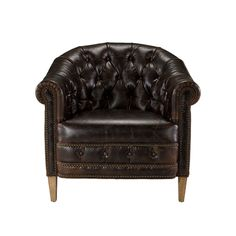 Dark Brown Leather Chambery Armchair