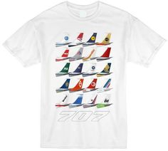 Tails Empennage Tee, Classic Oh-Seven Wht T-Shirt - Gate 72 White Tees, Graphic Prints, Printed Shirts, Classic, 1970s, Cotton, Thailand, Mens Tops, T Shirt