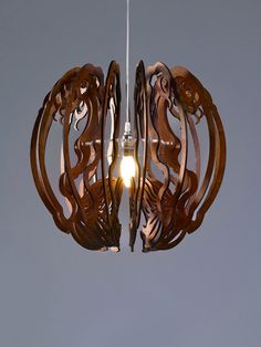 A Large Dining Room Lighting Pendant Lighting Light by iinsecto Small Pendant Lights, Wood Pendant Light, Pendant Light Fixtures, Pendant Lamp, Pendant Lighting, Laser Cut Lamps, Lotus Lamp, Art Nouveau, Wooden Lampshade