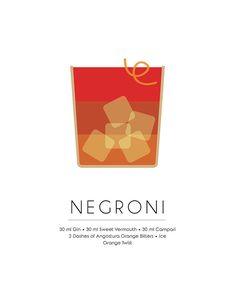 Negroni Classic Cocktail - Minimalist Print Mixed Media by Studio Grafiikka