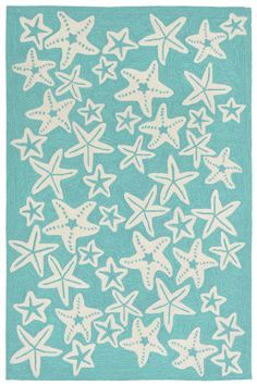 Starfish Aqua Rug: http://www.caronsbeachhouse.com/coastal-indoor-outdoor-rug-sale/