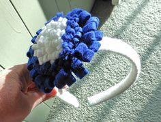 Yarn wrapped headband with hand made felt flower $7