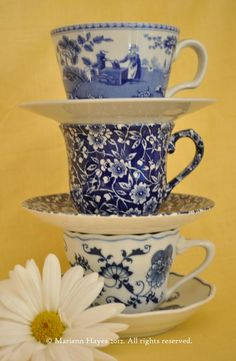 Blue and white china tea cups