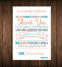 Coral Teal Thank You for Wedding Reception by YourDayPerfectPaper, $10.00