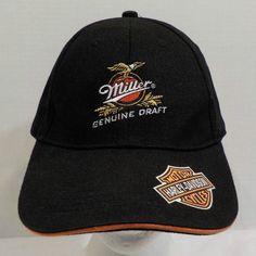 Miller Genuine Draft Beer Harley Davidson Baseball Hat Cap Flex Fit #MillerBeer #BaseballCap
